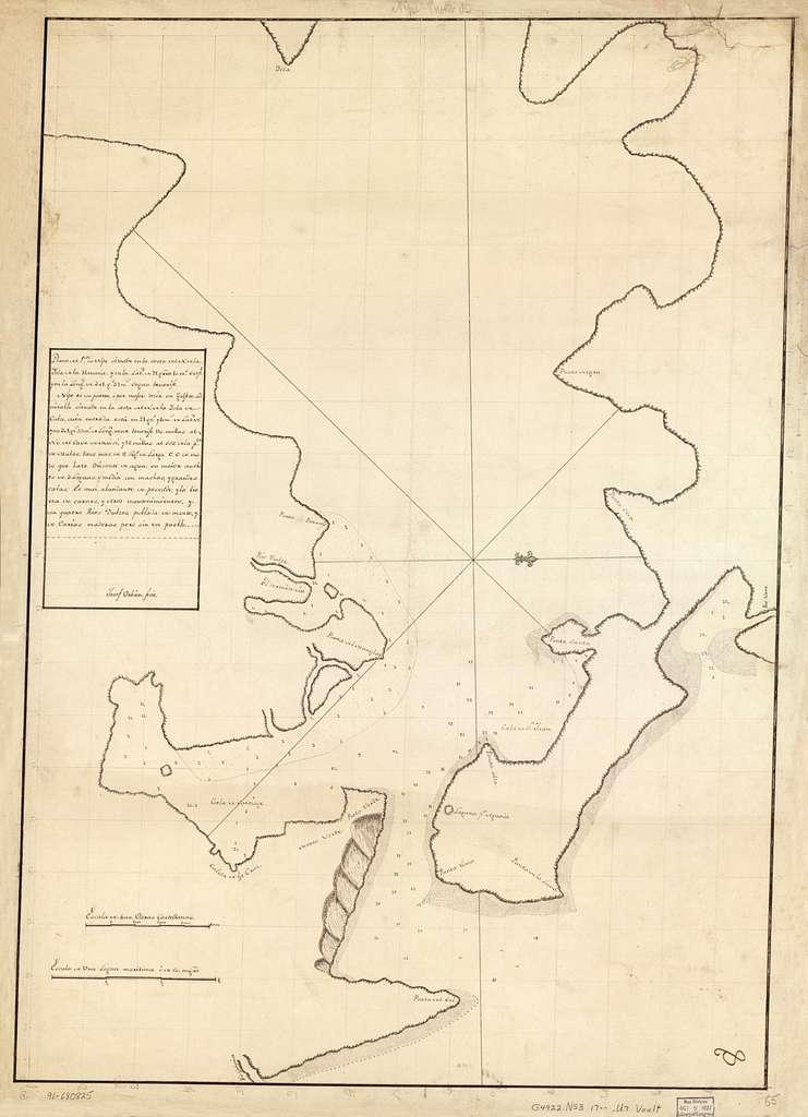 Plano del Pto. de Nipe situado en la costa del N. de la ysla de la Havana y en la latd. de 21 grro. 10 ms. setpl. y en la longd. de 301 gs. 33 ms. segun Tenerife /