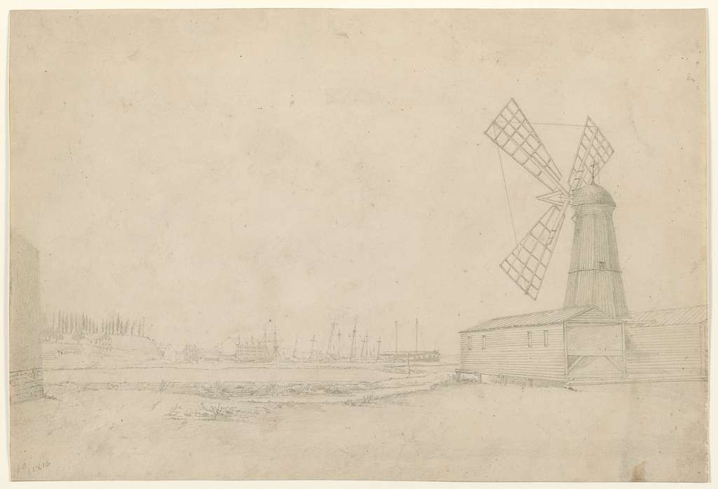 [Scene with windmill on right, Brooklyn Navy Yard to left]