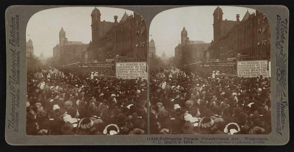 Suffragette parade, Pennsylvania Ave., Washington D.C., March 3, 1913