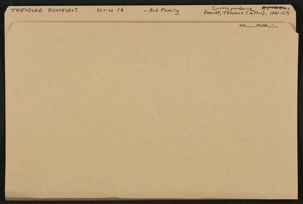 Theodore Roosevelt Papers: Series 16: Additions, 1760-1993; Addition I, 1760-1930; Family papers; Correspondence; Roosevelt, Theodore (1831-1878), 1861-1867