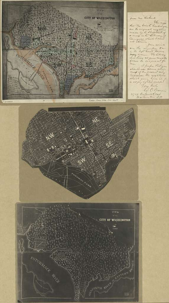 View of the city of Washington in 1792 : superimposed on a map of 1914.