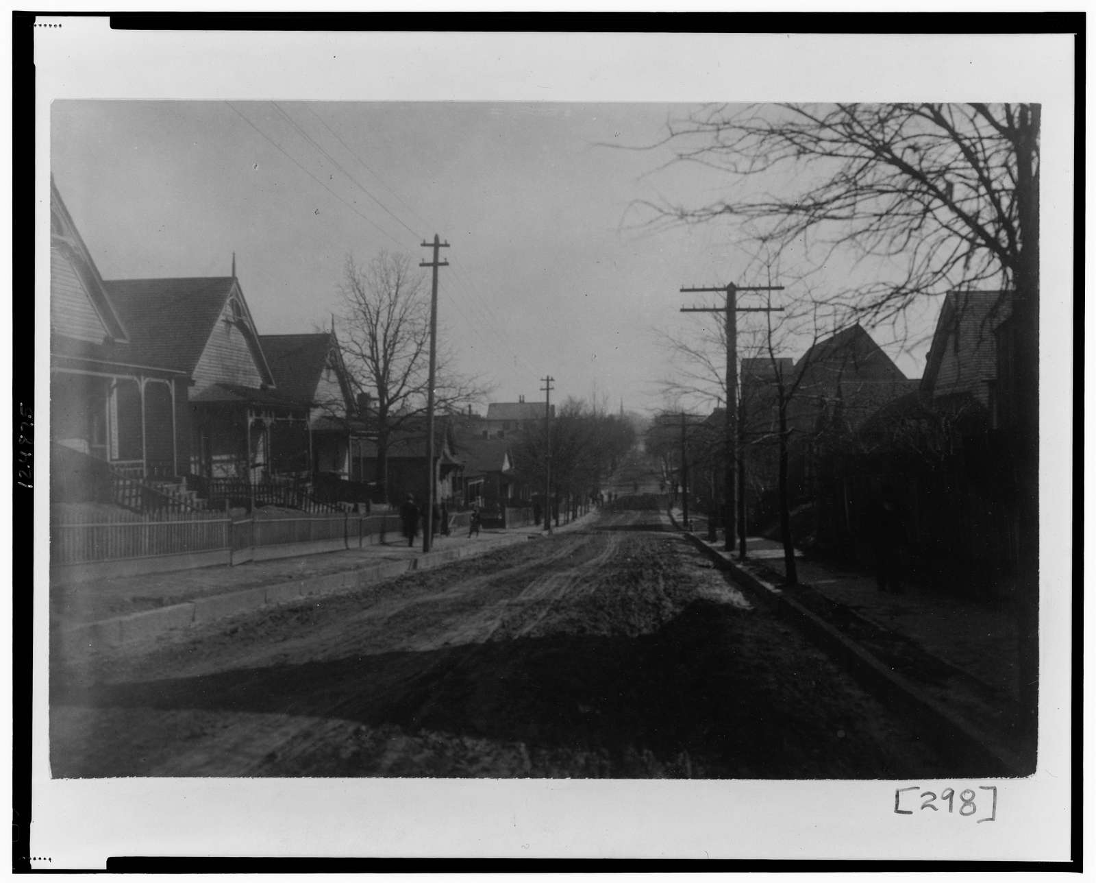 [View of unpaved street with houses along each side in Georgia]