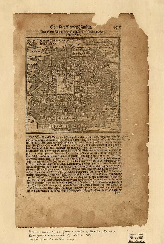 Von den newen Inseln : der Statt Themistitan in den newen Inseln gelegen/figurierung.