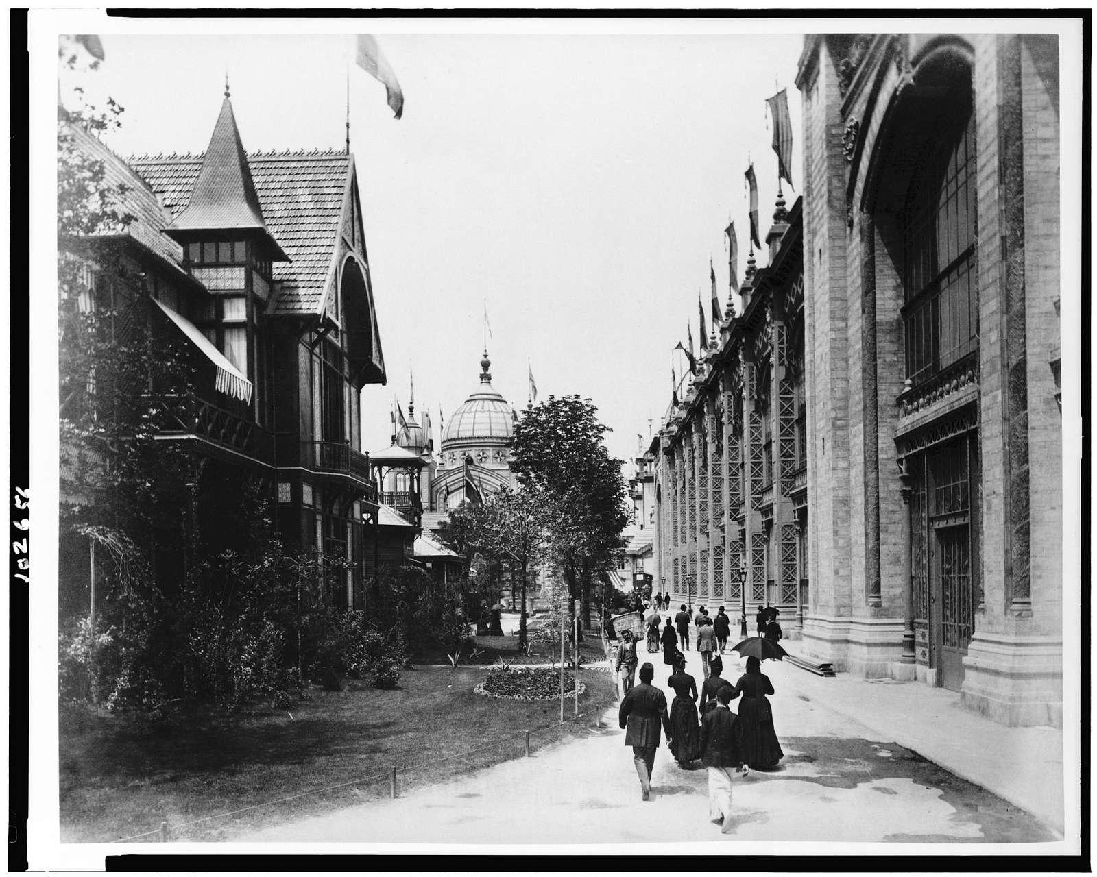 [Walkway between buildings, Paris Exposition, 1889]