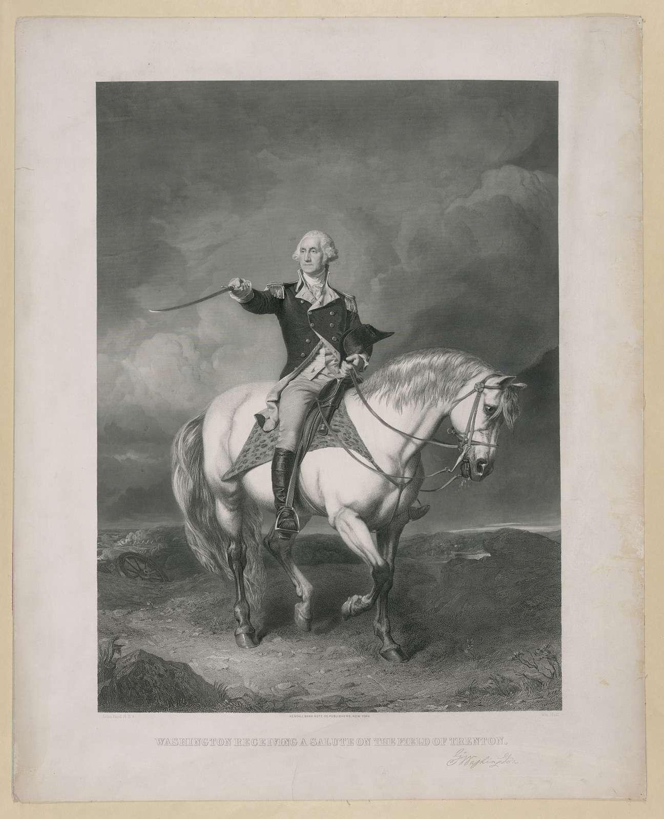 Washington receiving a salute on the field of Trenton / John Faed, R.S.A.; Wm. Holl.