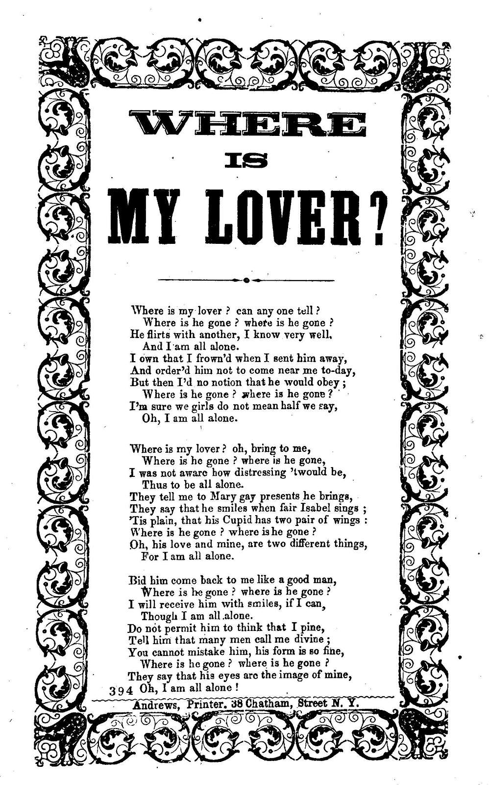Where is my lover? Andrews, Printer, 38 Chatham Street, N. Y