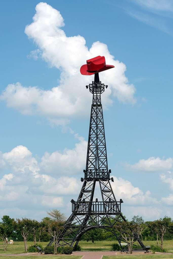 A replica Eiffel Tower with a Texas accent in Paris, Texas