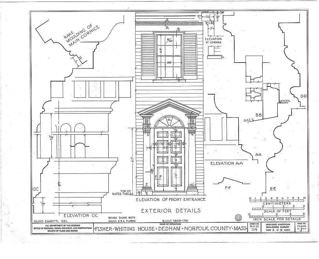 Fisher-Whiting House, 218 Cedar Street, Dedham, Norfolk County, MA