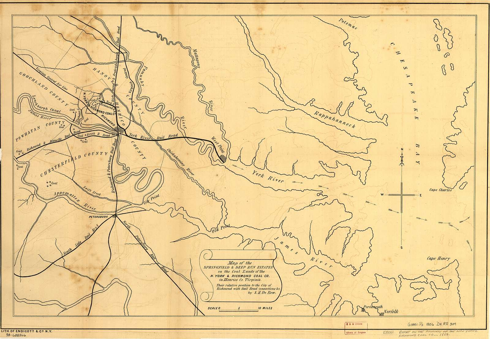 Map of the Springfield & Deep Run estates on the Coal Lands of the N. York & Richmond Coal Co, in Henrico Co. Virginia, their relative position to the city of Richmond with rail road connections &c.