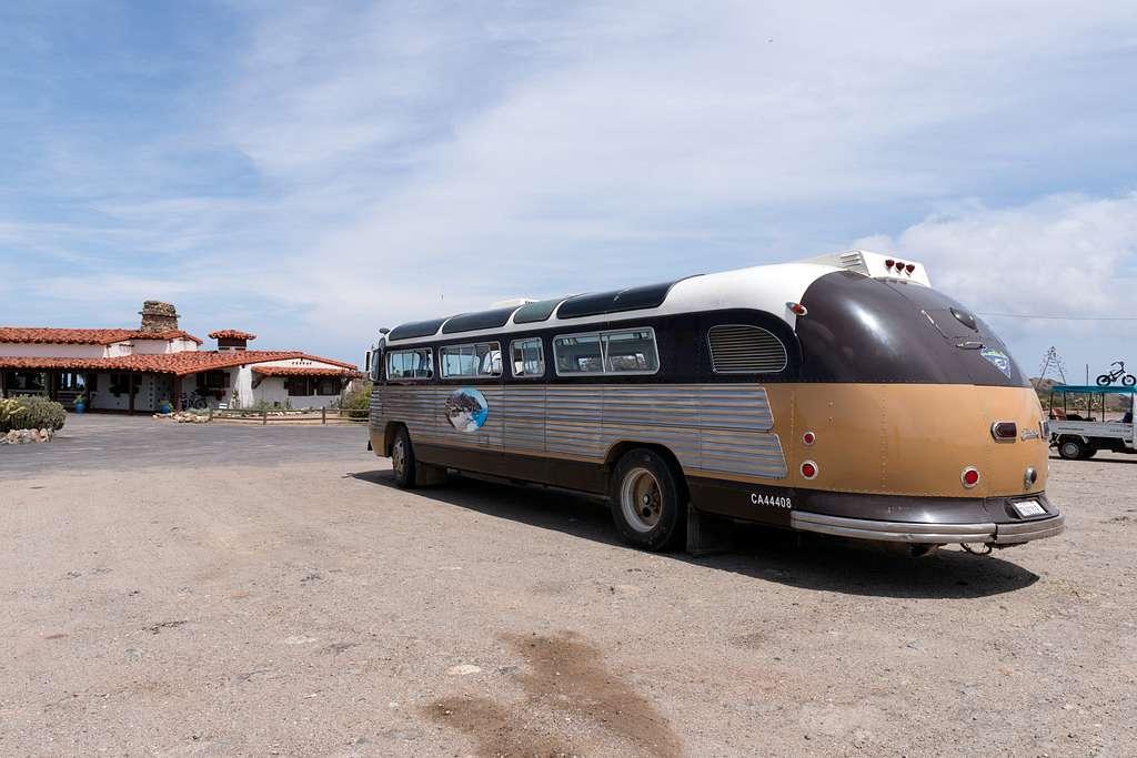 Bus at Airport on Santa Catalina Island, a rocky island off the coast of California