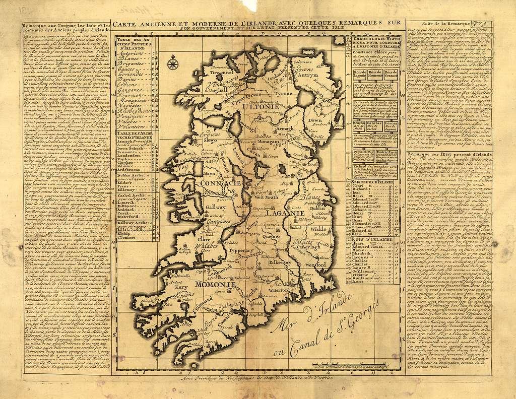 Carte ancienne et moderne de l'Irlande, avec quelques remarques sur son gouvernement et sur l'etat present de cette isle.
