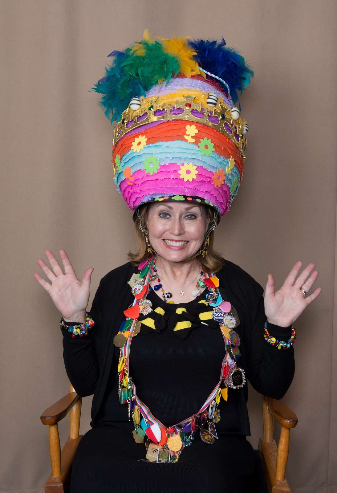 """Cindy Njegovan Comfort of San Antonio, models her creation exhibited in the """"Hats Off to Fiesta!"""" event, sponsored by the university's Institute of Texan Cultures, as part of the month-long San Antonio, Texas, Fiesta celebration"""