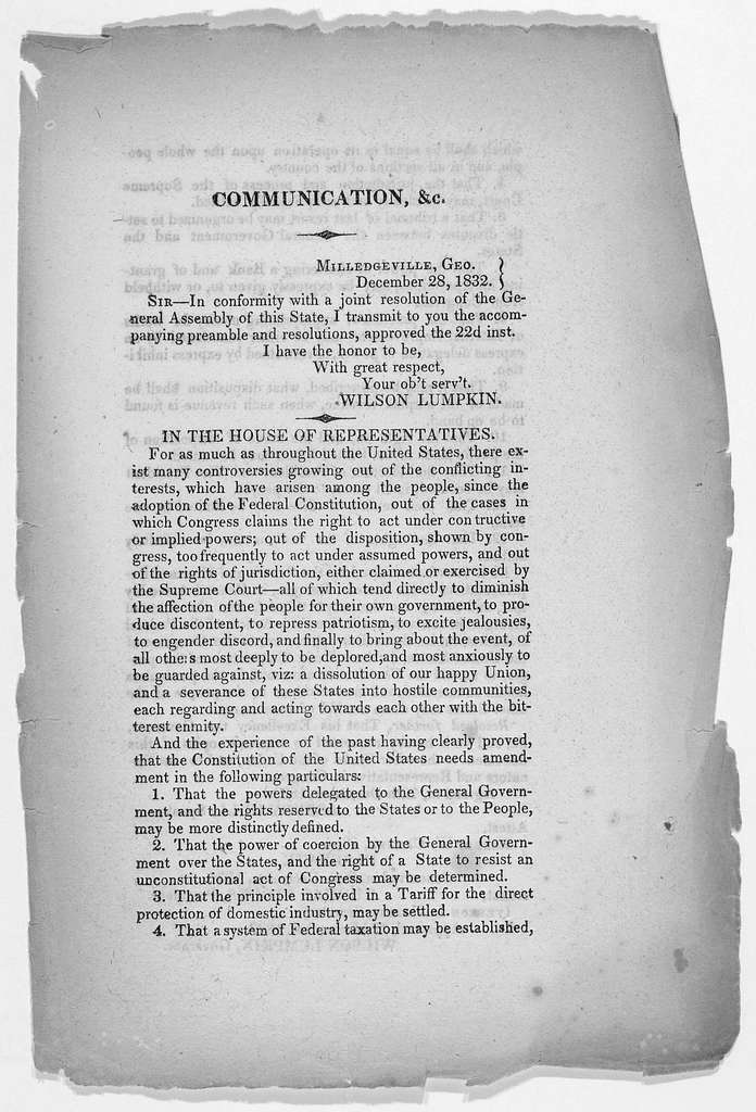 Communication from the executive of Georgia, to the Governor of Maryland, enclosing resolutions relative to the federal constitution. Annapolis: J. Hughes, Printer 1833.