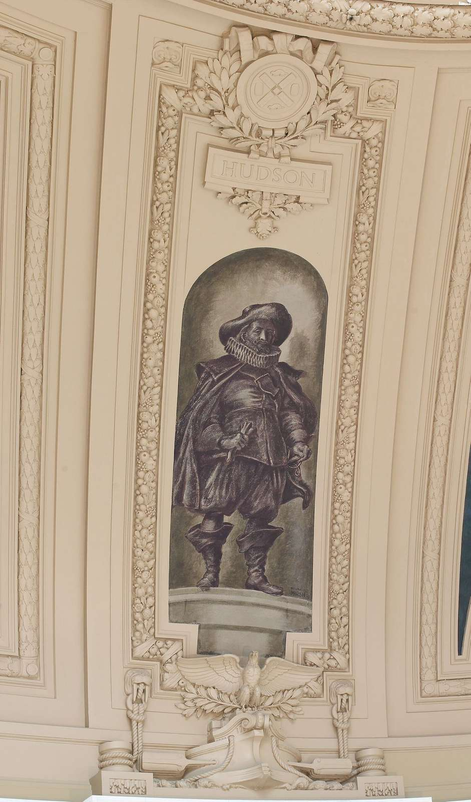 "Fresco painting ""Explorer Hudson"" located in rotunda of Alexander Hamilton U.S. Custom House, New York, New York"