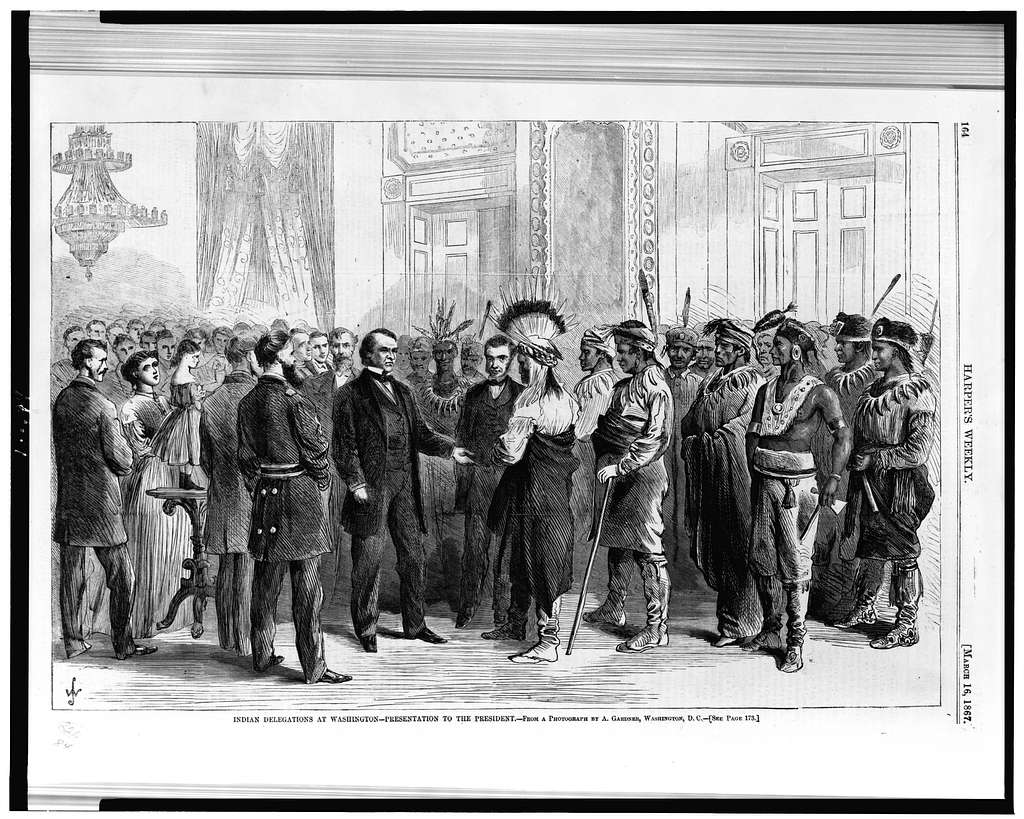 Indian delegations at Washington--presentation to the president / From a photograph by A. Gardner, Washington, D.C.