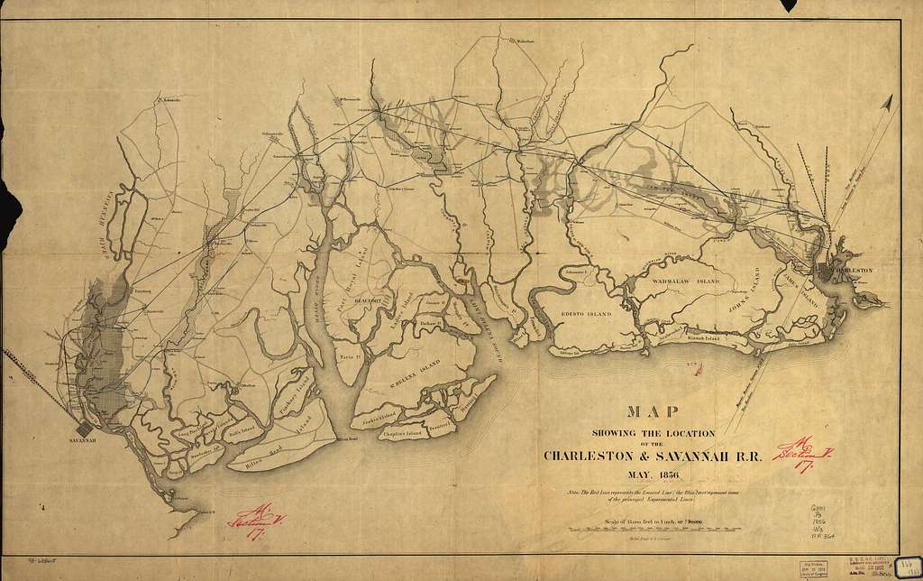 Map showing the location of the Charleston & Savannah R.R. May, 1856.