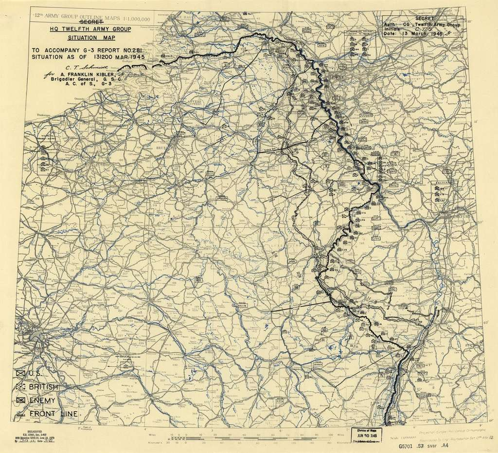 [March 13, 1945], HQ Twelfth Army Group situation map.