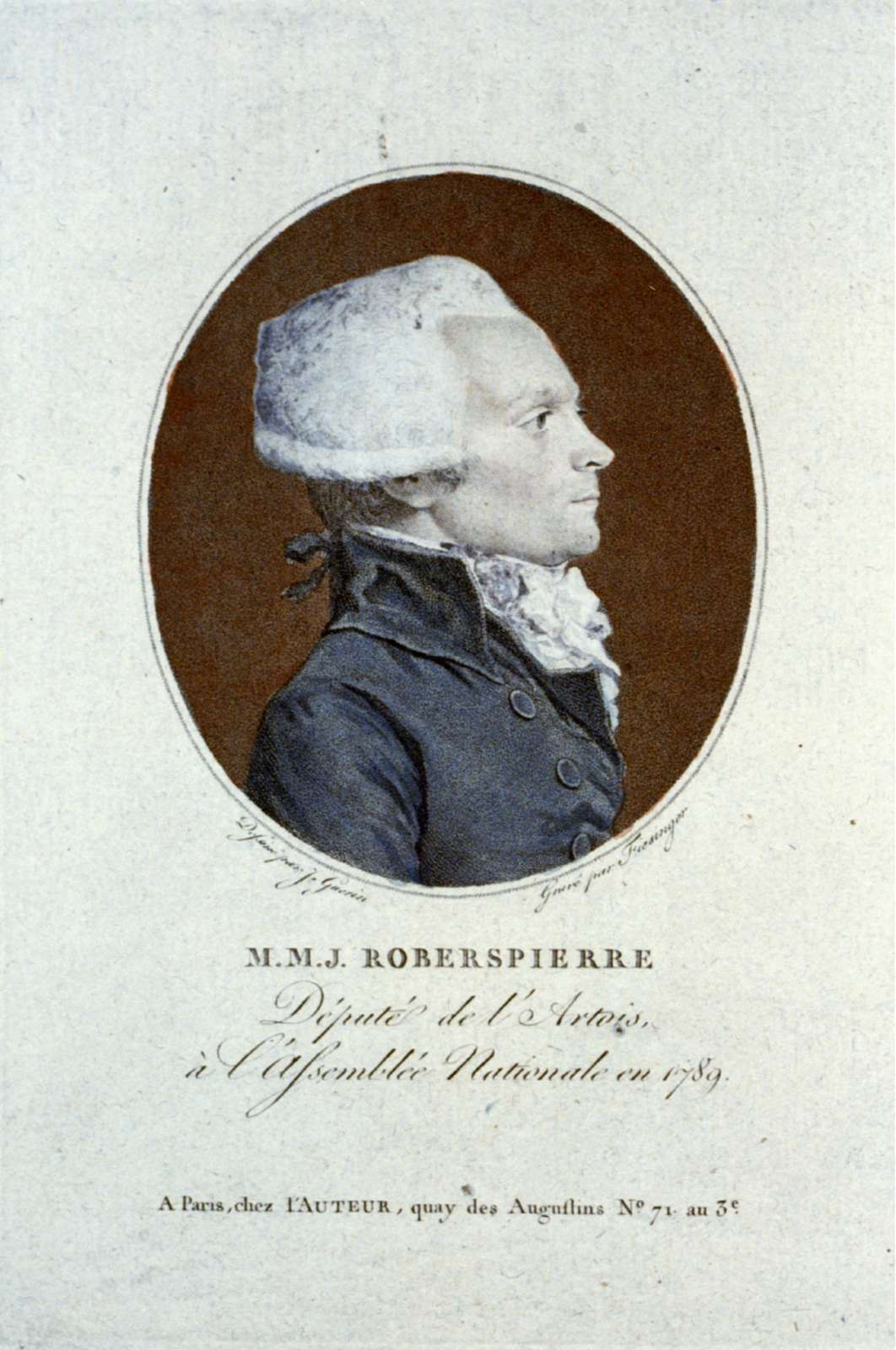 M.M.J. Robespierre Député de l'Artois, à l'Assemblée Nationale en 1789 / / dessiné par J. Guerin ; gravé par Fiesinger.