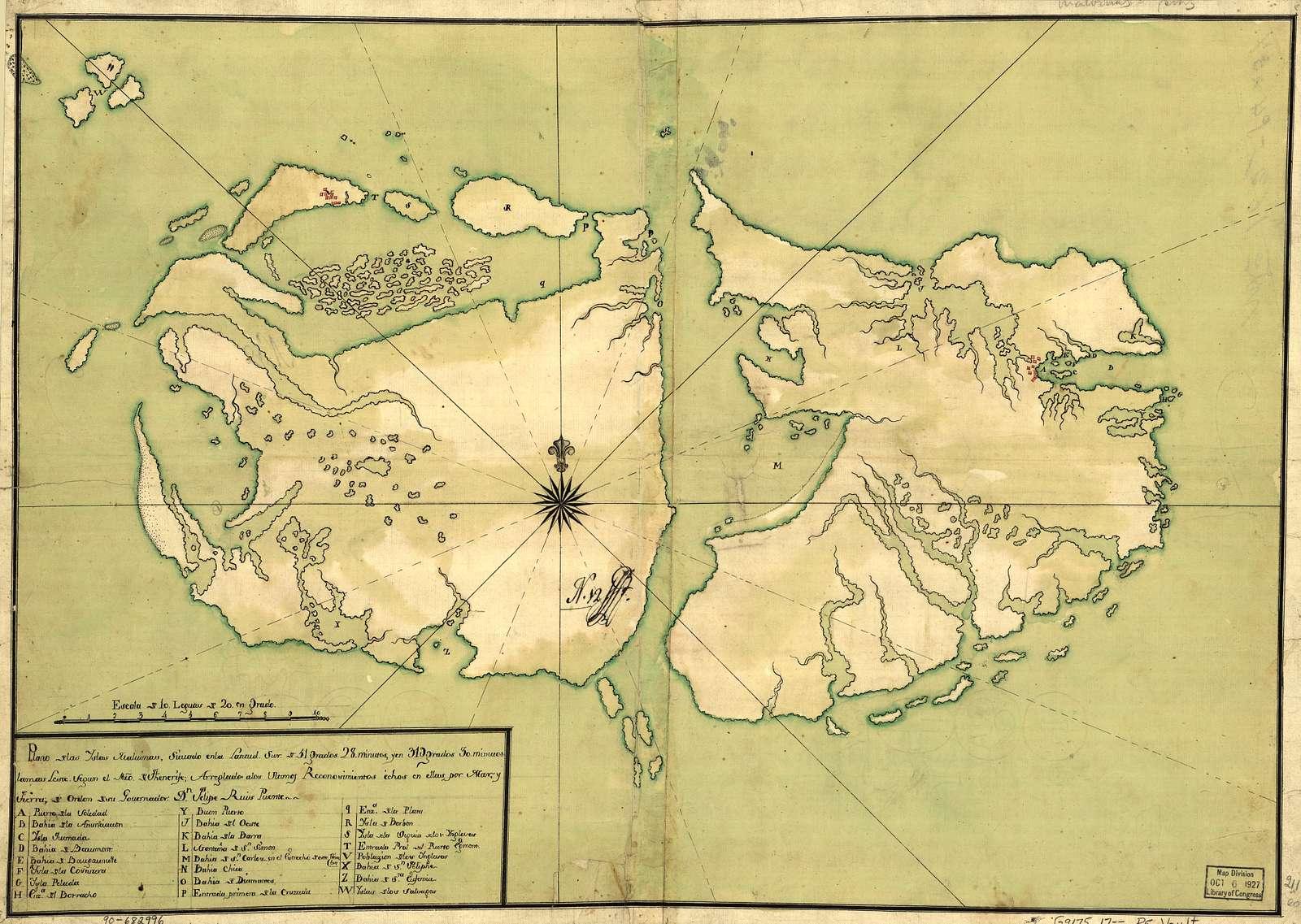 Plano de las Yslas Malvinas, situado en la latitud sur de 51 grados 28 minutos y en 319 grados 30 minutos lamas leste segun el mro. de Thenerife, arreglado a los ultimos reconosimientos echos en ellas por mar y tierra, de orden de su Gobernador Dn. Felipe Ruis Puente.