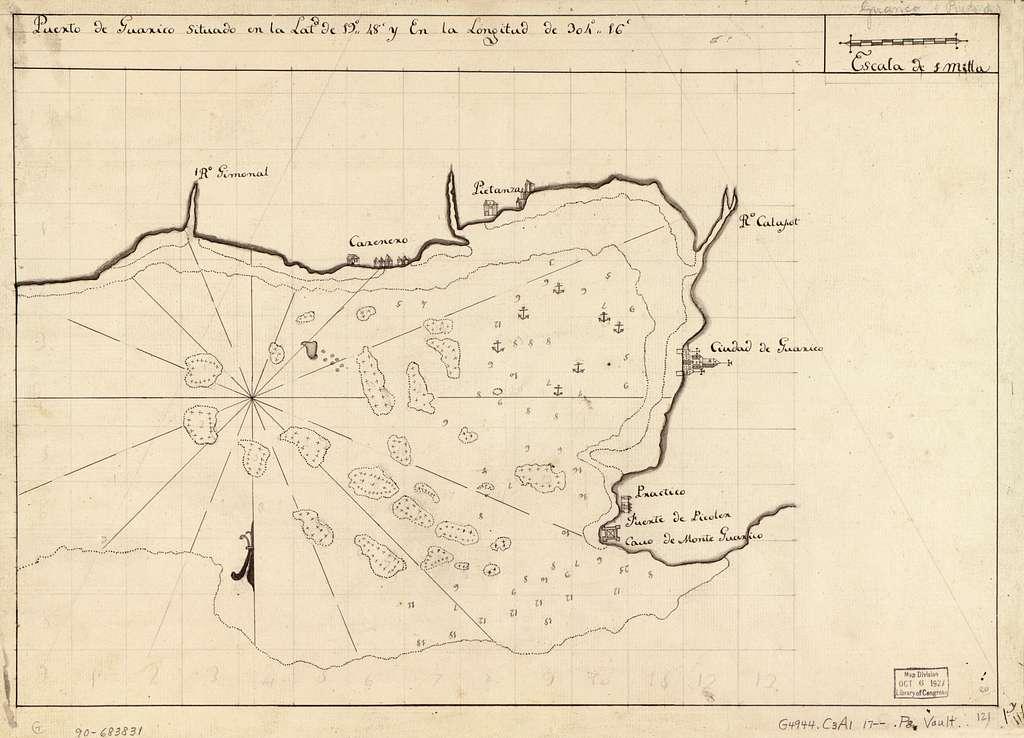 Puerto de Guárico situado en la latd. de 19°48ʹ y en longitud de 304°16ʹ.