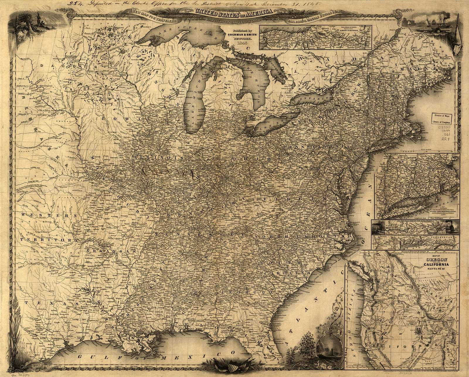 A new map for travelers through the United States of America showing the railroads, canals & stage roads with the distances,