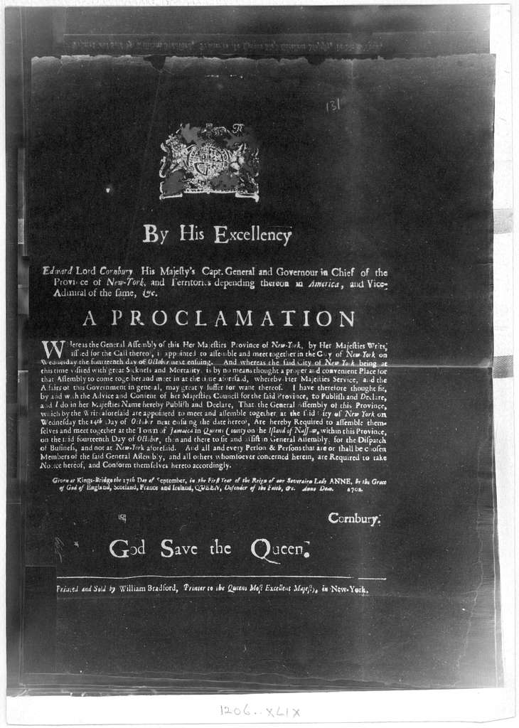 By His Excellency Edward Lord Cornbury, His Majesty's Capt. General and Governour in chief of the Province of New York ... A Proclamation [Calling the General Assembly to meet in the town of Jamaica on Oct. 14th instead of the City of New York o