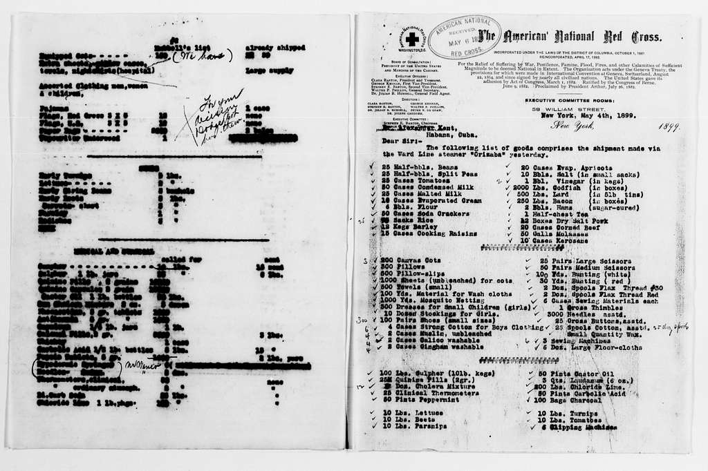 Clara Barton Papers: Red Cross File, 1863-1957; American National Red Cross, 1878-1957; Relief operations; Spanish-American War; Accounts and supplies; Supply lists, 1898-1899, undated