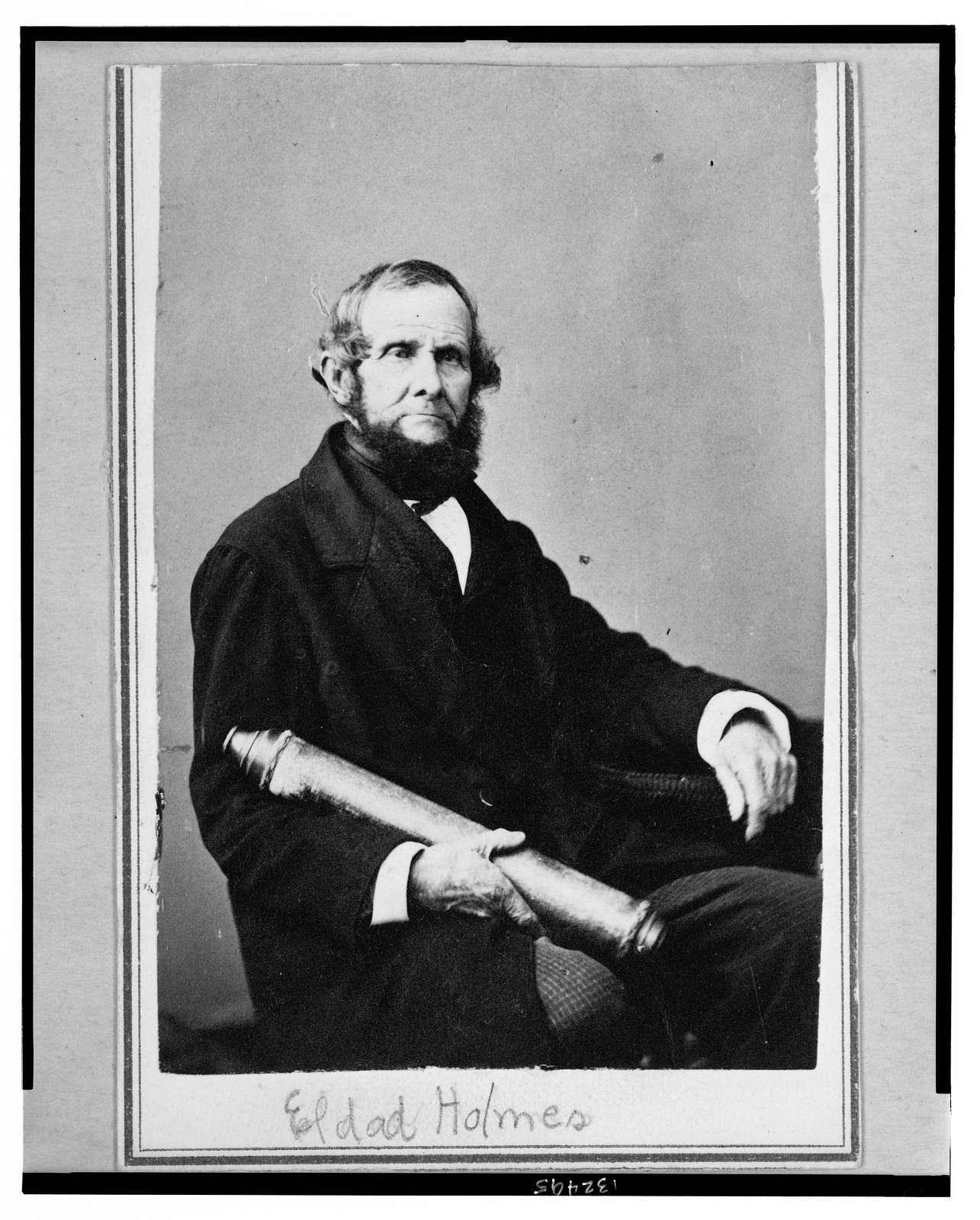 [Eldad Holmes, New York City merchant, half-length portrait, seated holding a telescope(?), facing right]