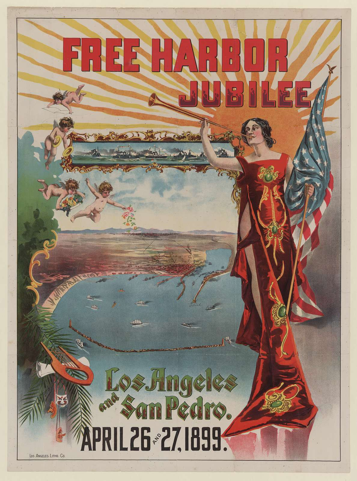 Free harbor jubilee, Los Angeles and San Pedro. April 26 and 27 1899 / J.F. Derby.