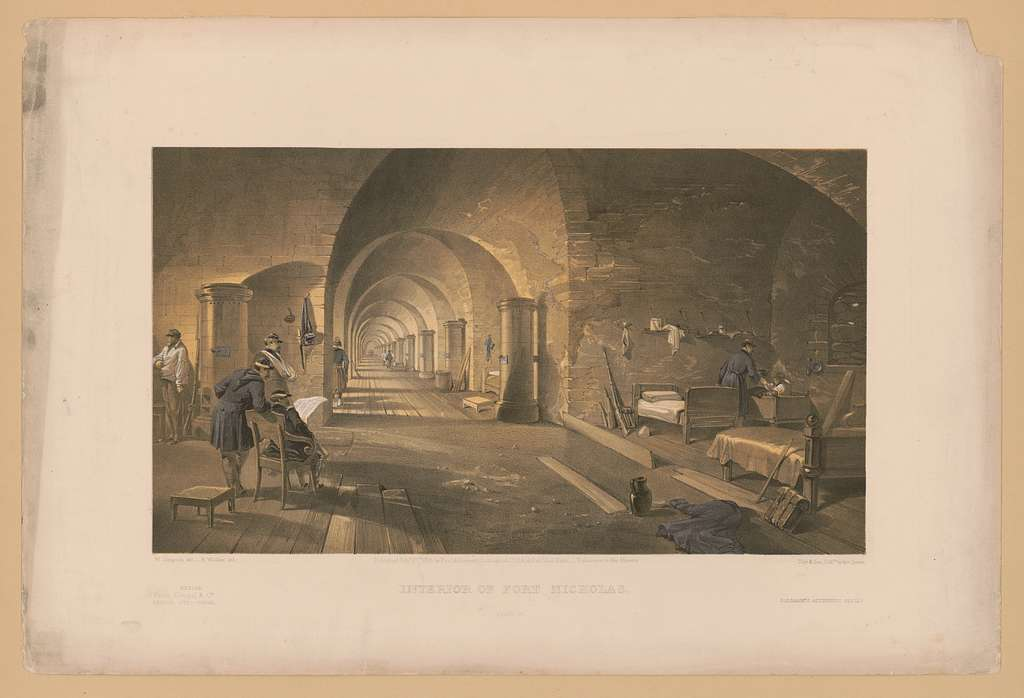 Interior of Fort Nicholas / W. Simpson del. ; E. Walker lith. ; Day & Son, Lithrs. to the Queen.