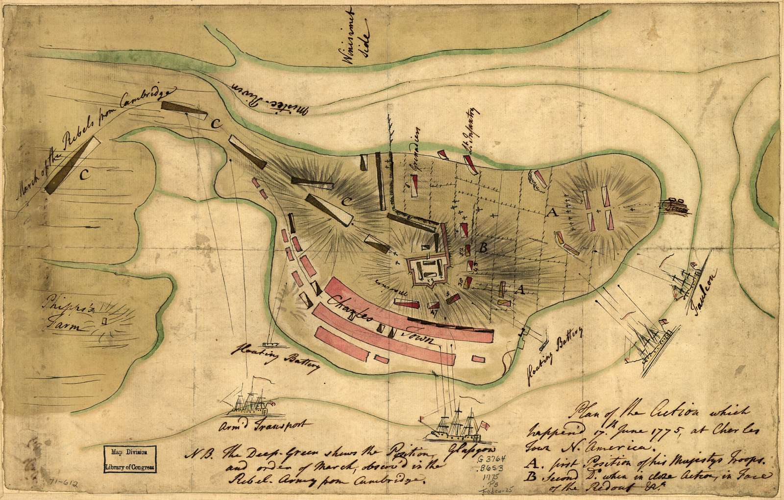 Plan of the action which happen'd 17th. June 1775, at Charles Town, N. America.