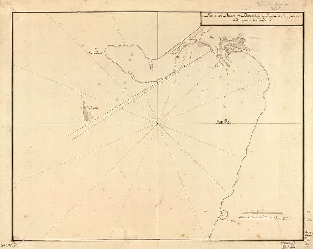 Plano del Puerto de Porland en la latitud de 50 grados 42 minutos norte.