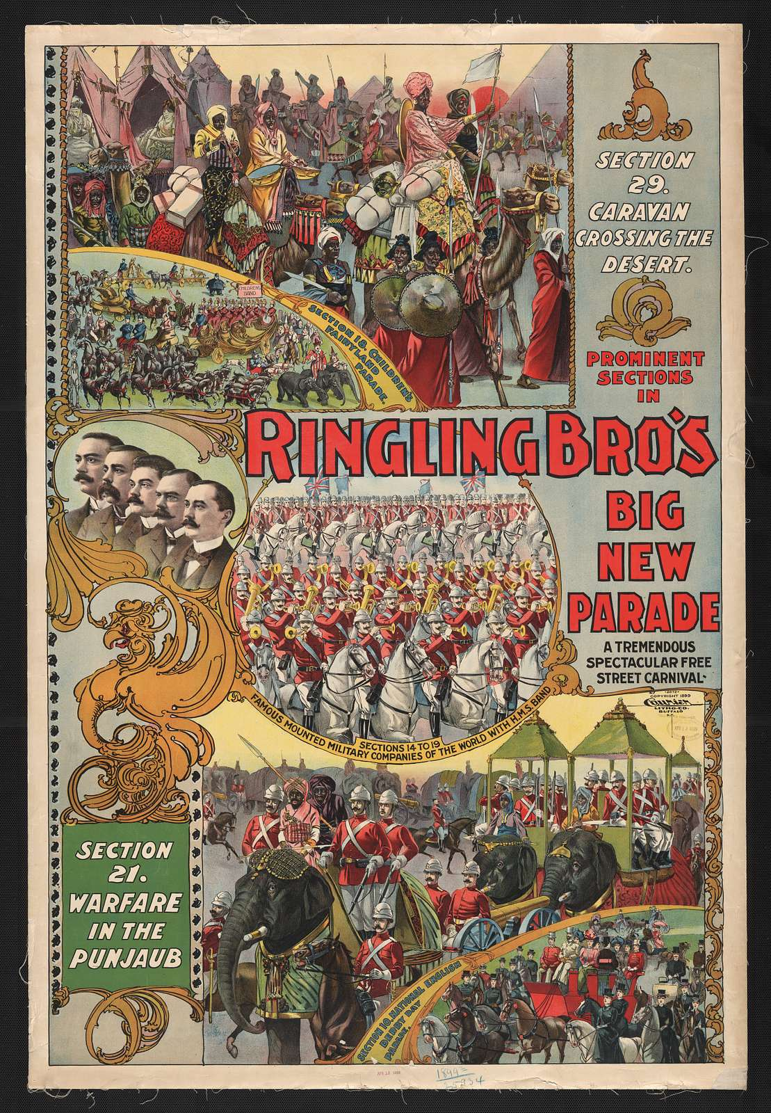 Prominent sections in Ringling Bro's. big new parade. A tremendous spectacular free street carnival
