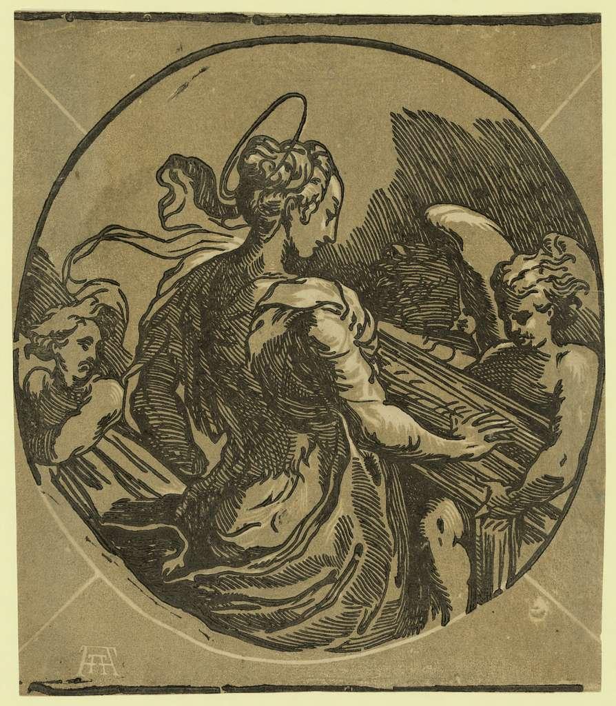 St. Cecilia / AA [monogram of Andrea Andreani].