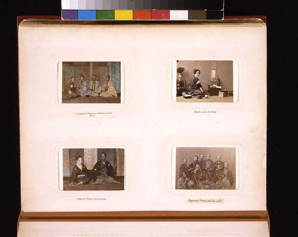 [Studio portraits of Japanese woman with tea implements and chest,  a prince with his staff, government officials, and a Daimio (nobleman) with his wife ]
