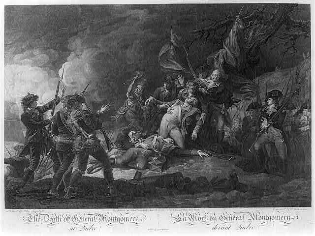 The death of General Montgomery at Quebec La mort du General Montgomery devant Quebec / / painted by John Trumbull ; engraved by W. Ketterlinus ; printed by Andw. Maverick.