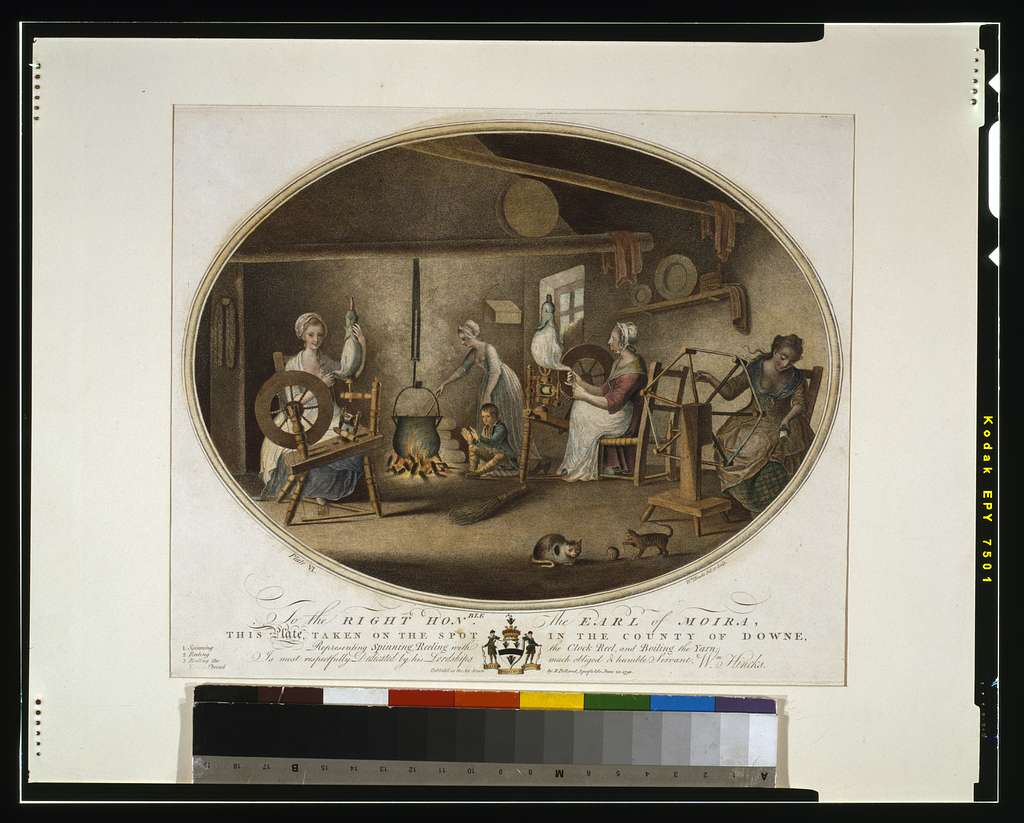 To the right hon'able the Earl of Moira, this plate, taken on the spot in the County of Downe, representing spinning, reeling with the clock reel, and boiling the yarn; is most respectfully dedicated by ... Wm. Hincks / Wm. Hincks, del. et sculp.