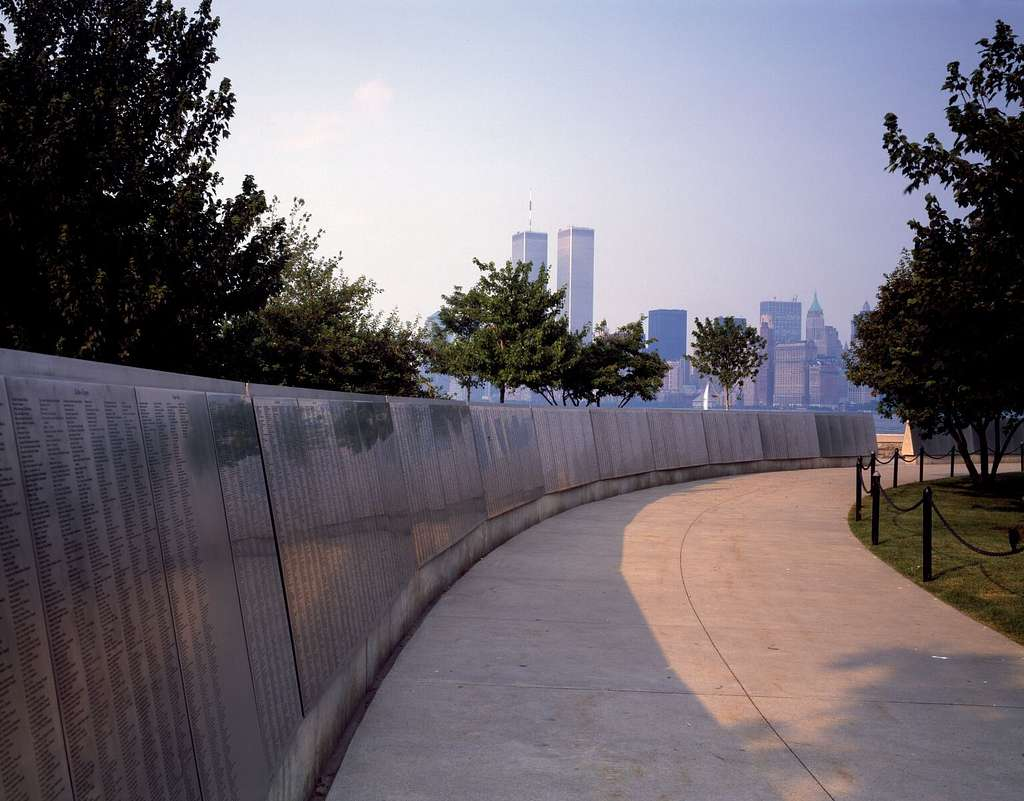 View of the World Trade Center Twin Towers, New York, in the distance