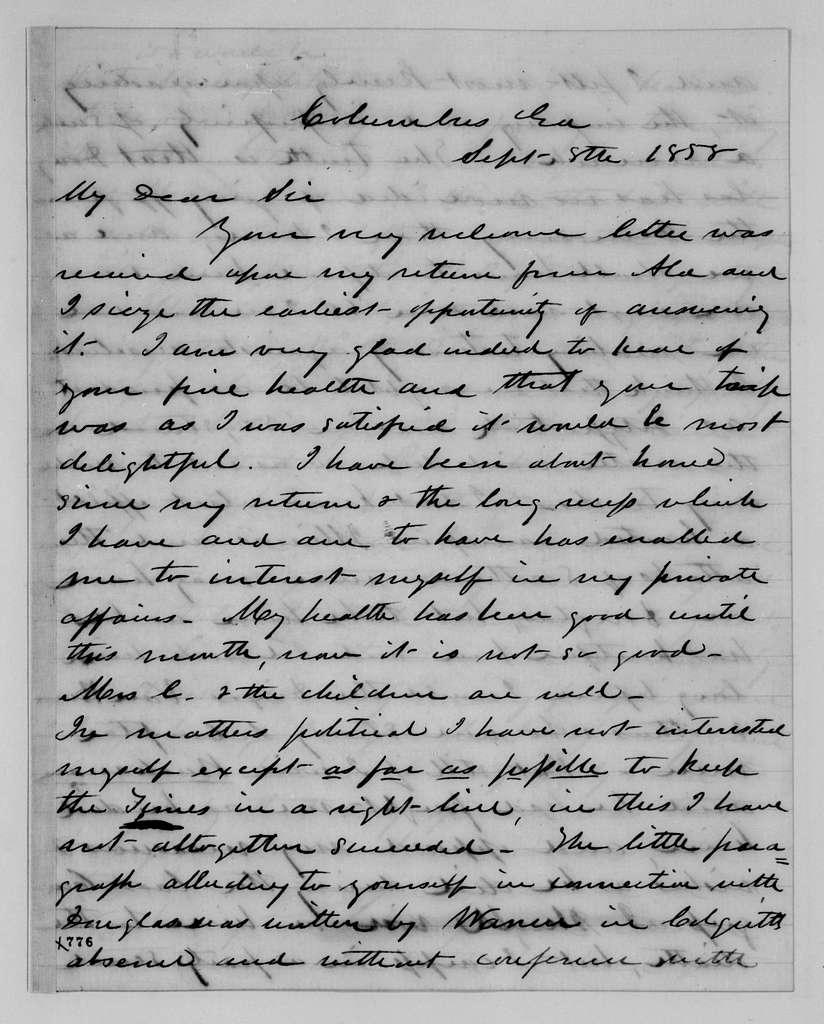 Alexander Hamilton Stephens Papers: General Correspondence, 1784-1886; 1857, Aug. 7-1858, Dec. 4