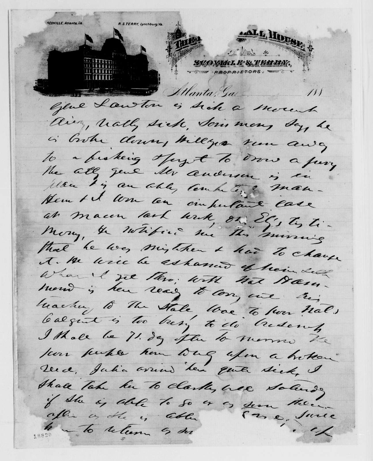 Alexander Hamilton Stephens Papers: General Correspondence, 1784-1886; 1880, Dec. 13-1881, July 27