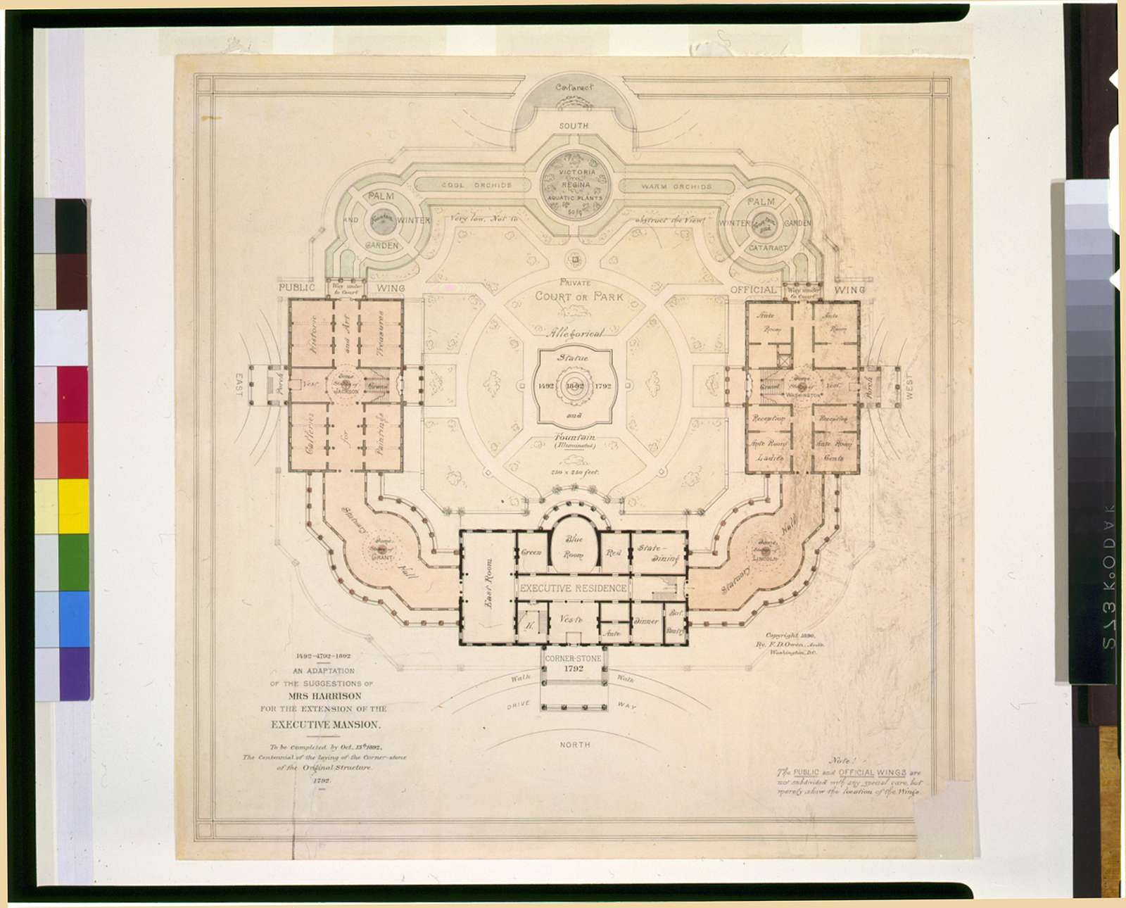 [Alterations to the Executive Mansion, for Mrs. Benjamin Harrison, Pennsylvania Avenue, N.W., Washington, D.C. Site plan, with suggestions] / F.D. Owen, Arch't., Washington, D.C.