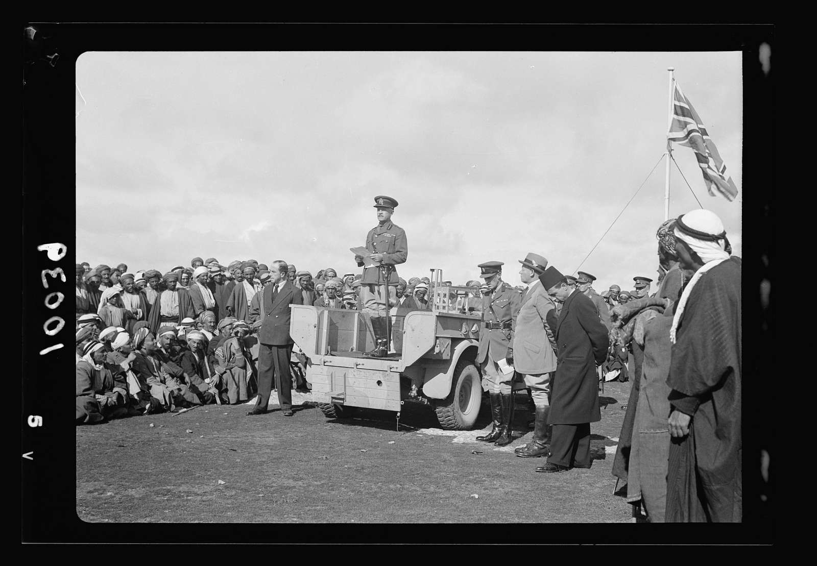 Arab demonstration at Yatta. General O'Conner speaking to the crowd from a military car