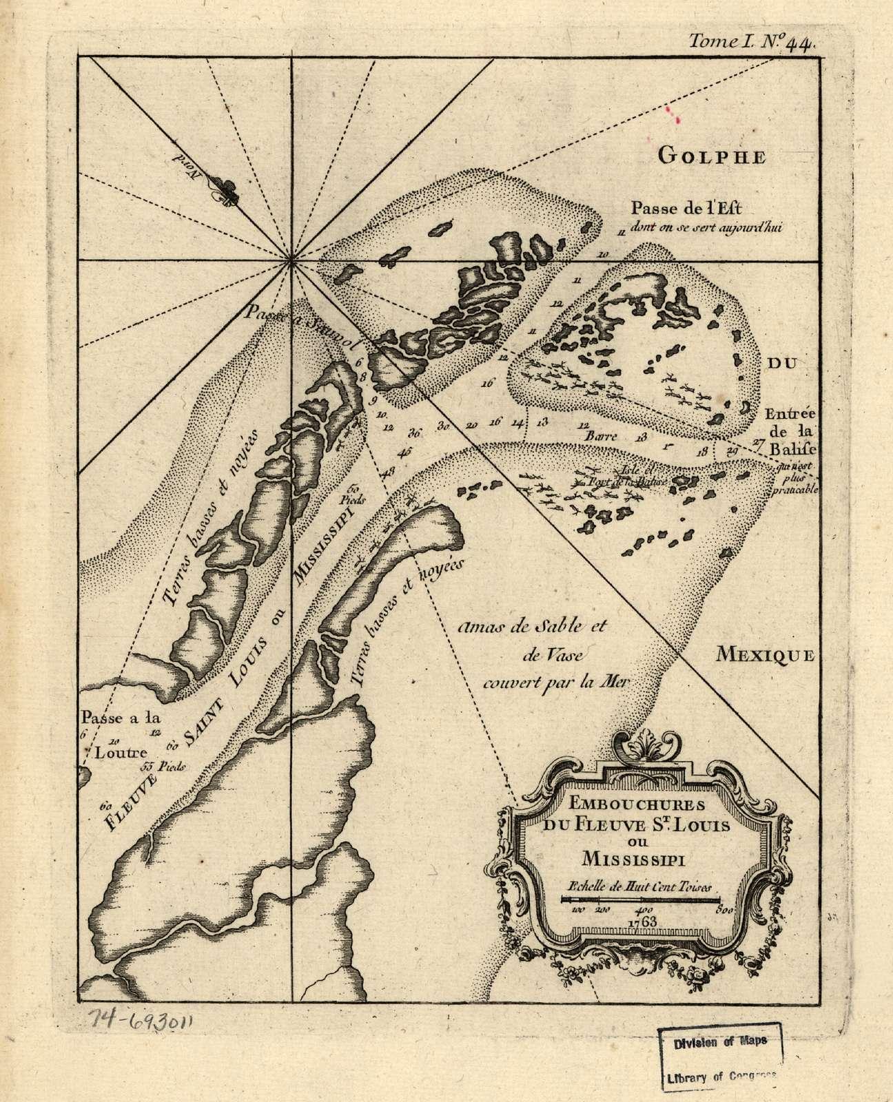 Embouchures du fleuve St. Louis ou Mississipi. 1763.
