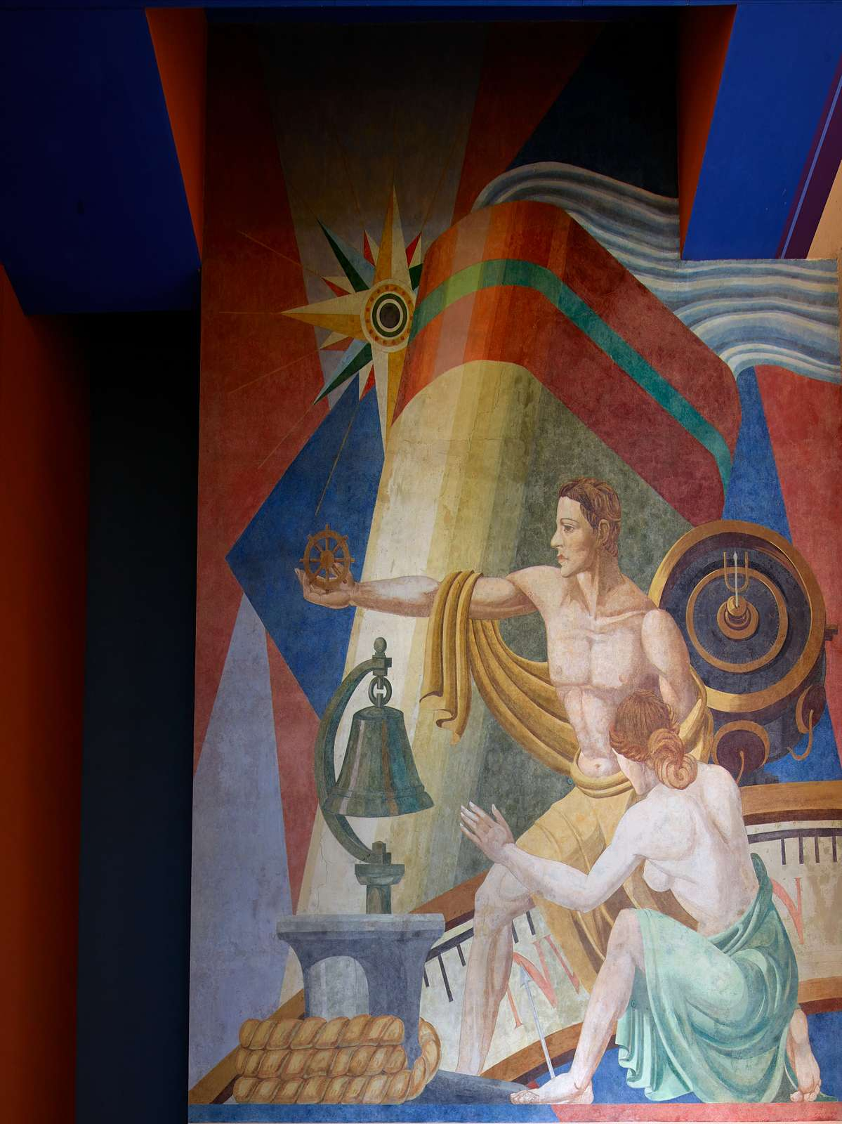"""[Part of a carefully restored mural, """"Navigation"""" by Carlo Ciampaglia, one of dozens at Fair Park, site of the 1936 Texas Centennial celebration and the Pan-American Exposition in 1937 in Dallas, Texas]"""