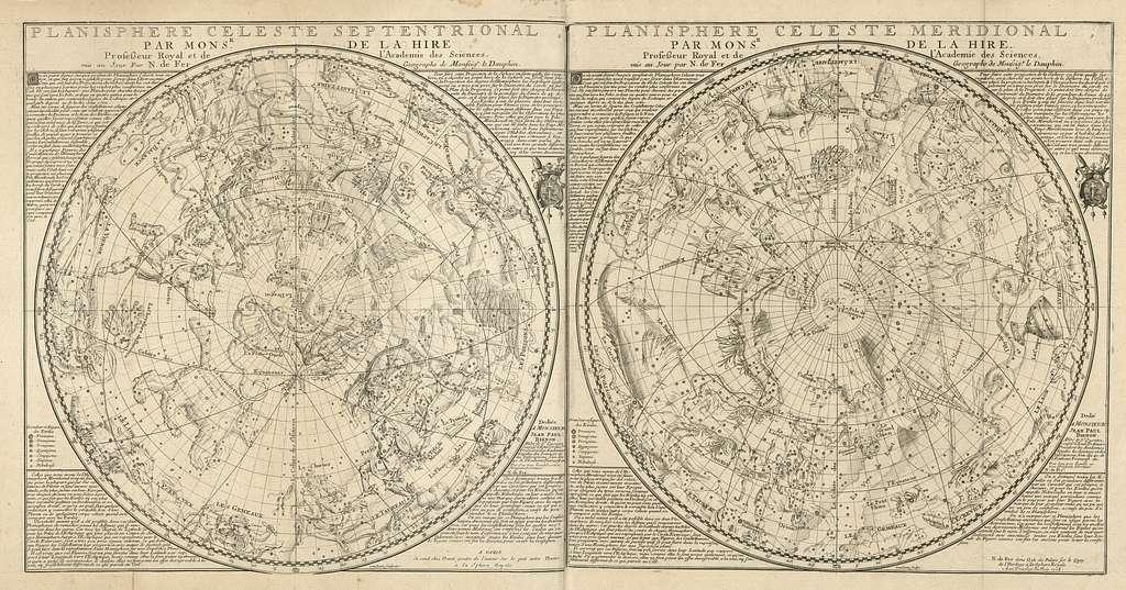 Planisphere celeste septentrional ; Planisphere celeste meridional  /