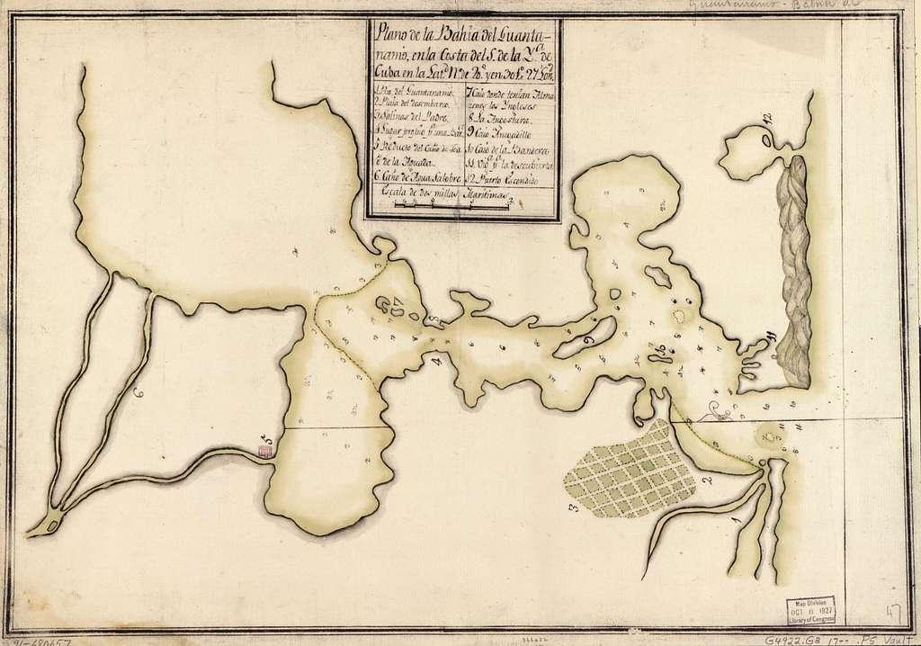 Plano de la Bahía del Guantánamo en la costa del S. de la ya. de Cuba en la latd. N. de 20⁰ y en 301⁰27ʹ lond.