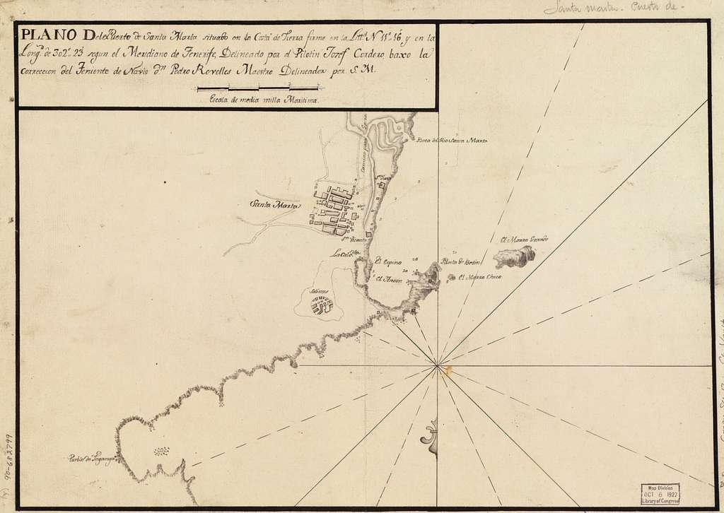Plano del puerto de Santa Marta situado en la costa de Tierra Firme en la littd. N. 11⁰16ʹ y en la longd. de 302⁰23ʹ segun el meridiano de Tenerife /