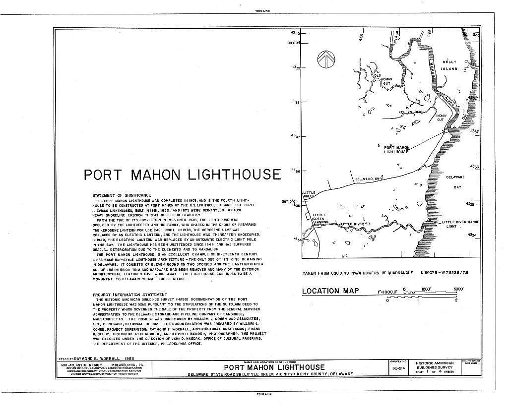 Port Mahon Lighthouse, Delaware Bay at mouth of Mahon River, on State Route 89, Little Creek, Kent County, DE