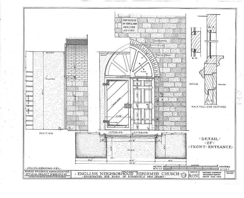Reformed Church of English Neighborhood, Edgewater Avenue, Ridgefield, Bergen County, NJ