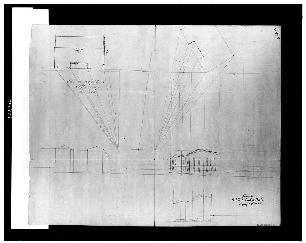[Structure with pedimented wings. Perspective sketch]
